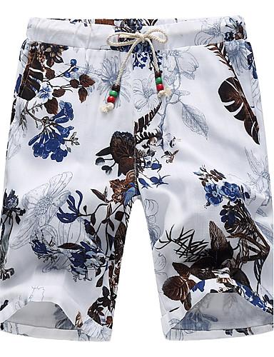 Herren Einfach Mittlere Hüfthöhe Mikro-elastisch Kurze Hosen Lose Hose,Jacquard Blumen