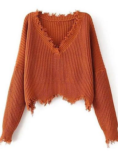 Damen Standard Pullover-Ausgehen Lässig/Alltäglich Arbeit Street Schick Solide Rundhalsausschnitt Langarm Baumwolle Elasthan Herbst Mittel