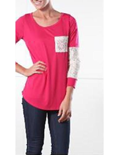 Damen Solide Einfach Lässig/Alltäglich T-shirt,Rundhalsausschnitt Herbst 3/4 Ärmel Baumwolle Mittel