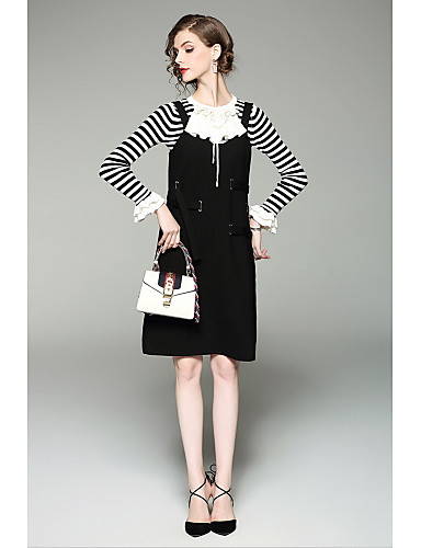 Damen Hülle Kleid-Ausgehen Niedlich Gestreift Rundhalsausschnitt Knielang Langarm Polyester Sommer Mittlere Hüfthöhe Mikro-elastisch