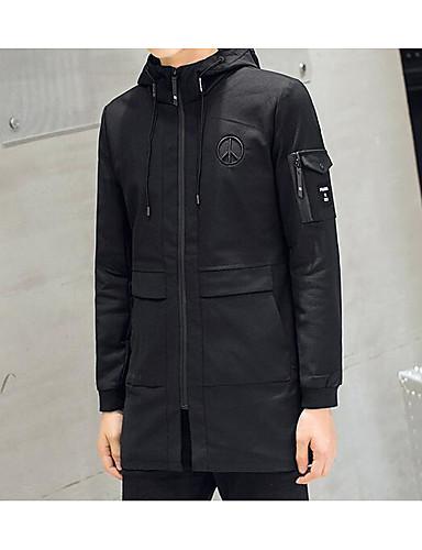 Herren Solide Einfach Lässig/Alltäglich Trench Coat,Ständer Frühling Herbst Lange Ärmel Standard Baumwolle