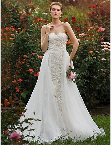 Sellő fazon Szív-alakú Udvari uszály Csipke Organza Egyéni esküvői ruhák val vel Gyöngydíszítés Rátétek által LAN TING BRIDE®