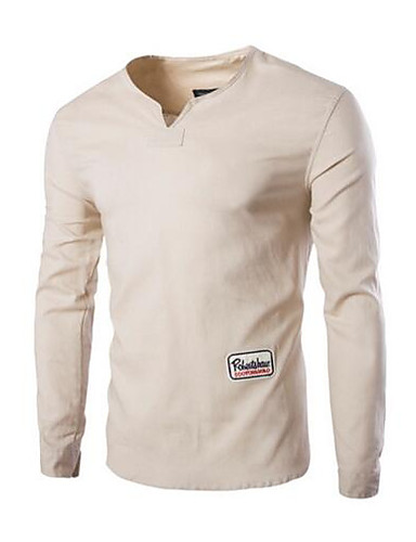 Herren Solide Buchstabe Einfach Lässig/Alltäglich T-shirt,Ständer Alle Saisons Langarm Baumwolle