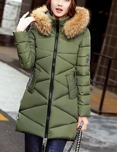 Damen Gefüttert Mantel,Lang Sexy Einfach Niedlich Lässig/Alltäglich Arbeit Ausgehen Solide Druck-Baumwolle Acryl Polyester Polyester