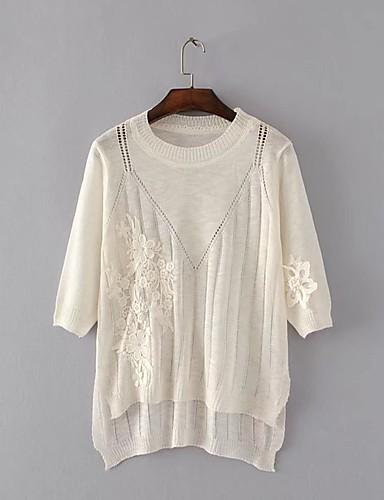 Damen Standard Pullover-Ausgehen Lässig/Alltäglich Einfach Solide Rundhalsausschnitt 3/4 Ärmel Baumwolle Polyester Frühling Herbst Dünn
