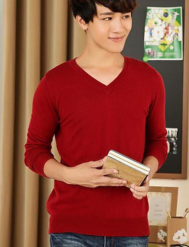 Herren Standard Pullover-Lässig/Alltäglich Solide V-Ausschnitt Langarm Wolle Herbst Winter Mittel Mikro-elastisch