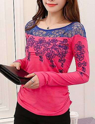 Damen Blumen Freizeit Alltag Ausgehen T-shirt,Rundhalsausschnitt Sommer Herbst Langarm Polyester
