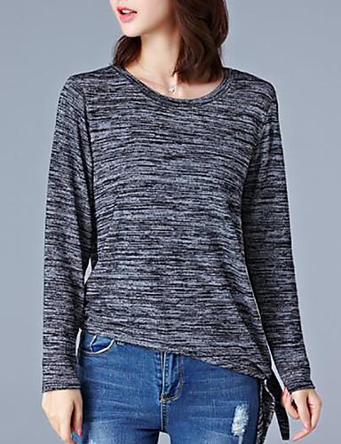 Damen Solide Einfach Lässig/Alltäglich Übergröße T-shirt,Rundhalsausschnitt Herbst Langarm Polyester Mittel