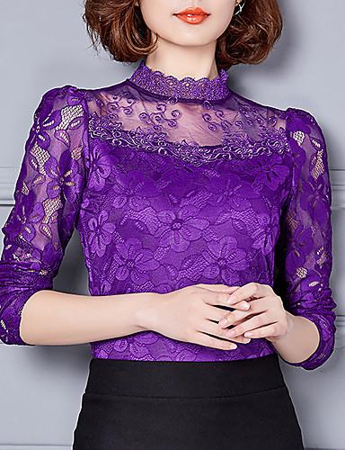baratos Blusas Femininas-Mulheres Camiseta - Para Noite Renda, Sólido Colarinho Chinês Vermelho / Outono / Inverno / Rendas