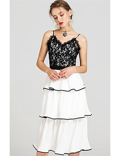 Damen Lose Swing Kleid-Lässig/Alltäglich Solide Jacquard Gurt Midi Ärmellos Polyester Frühling Hohe Hüfthöhe Mikro-elastisch Mittel