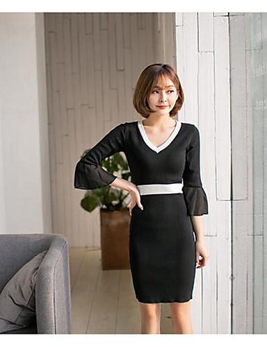 Damen A-Linie Kleid-Lässig/Alltäglich Solide V-Ausschnitt Knielang 3/4 Ärmel Baumwolle Polyester Sommer Mittlere Hüfthöhe Mikro-elastisch