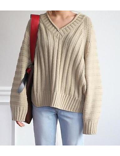 Damen Standard Pullover-Ausgehen Solide V-Ausschnitt Langarm Baumwolle Frühling Herbst Mittel Mikro-elastisch