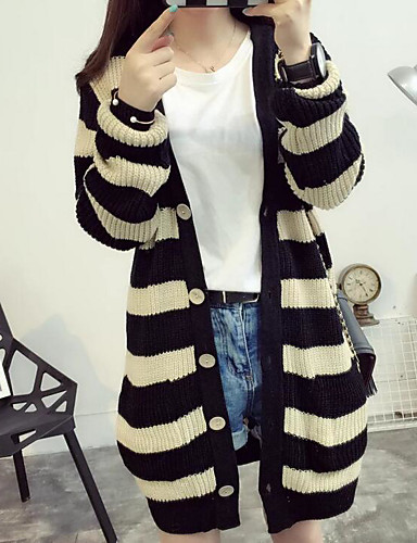 Damen Lang Pullover-Lässig/Alltäglich Gestreift V-Ausschnitt Langarm Baumwolle Leinen Herbst Mittel Mikro-elastisch