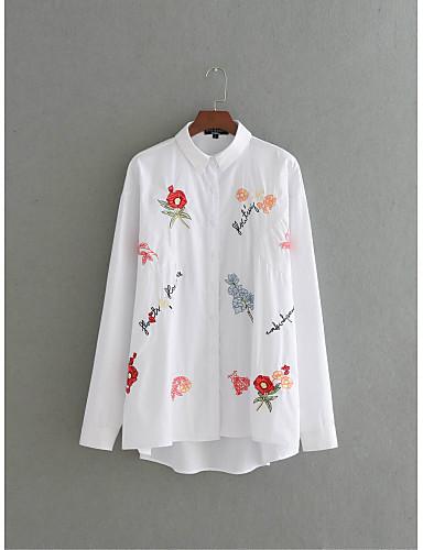 Damen Blumen Einfach Street Schick Ausgehen Lässig/Alltäglich T-shirt,Hemdkragen Sommer Langarm Seide Baumwolle Dünn Mittel