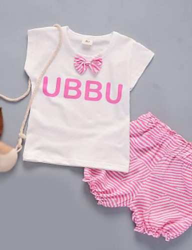 Mädchen Kleidungs Set Streifen Baumwolle Sommer Blau Grün Rosa