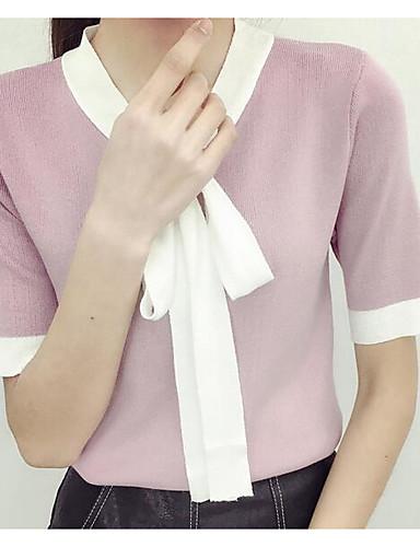 Damen Einfarbig Niedlich Ausgehen T-shirt,Rundhalsausschnitt Sommer Kurzarm Kunstseide Dünn