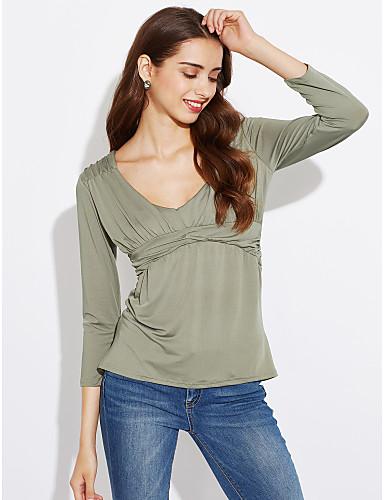 abordables Camisas y Camisetas para Mujer-Mujer Chic de Calle Noche Frunce Camiseta, Escote en Pico Un Color Azul Marino M / Primavera / Otoño