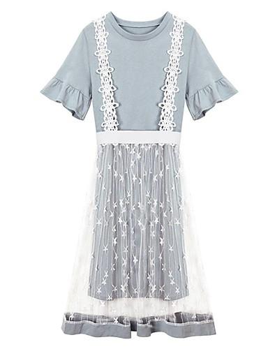 Damen Ausgehen Street Schick Baumwolle T-shirt - Solide / Blumen, Rückenfrei Rock / Sommer