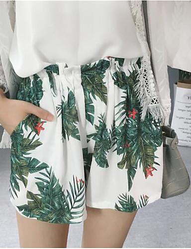 Damen Einfach Chinoiserie Hohe Hüfthöhe Unelastisch Breites Bein Chinos Breites Bein Hose Blumen