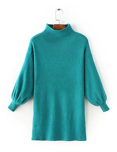 Damen Lang Pullover-Ausgehen Lässig/Alltäglich Einfach Solide Rundhalsausschnitt Langarm Andere Frühling Herbst Dünn Mittel