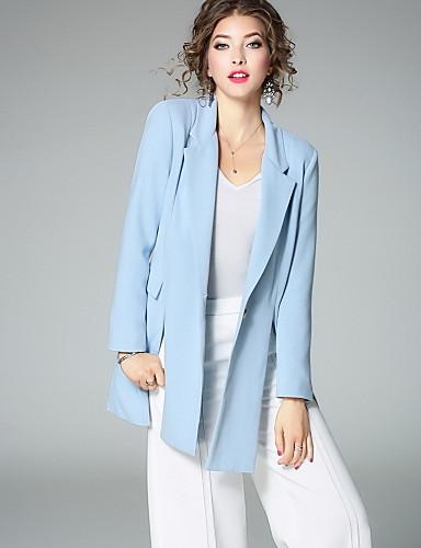 Damen Solide Street Schick Arbeit Anzug,Hemdkragen Herbst Lange Ärmel Standard Polyester