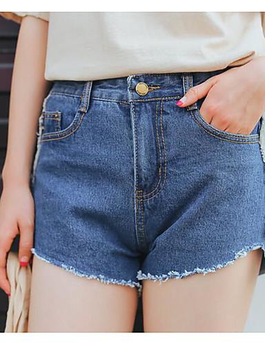 Damen Einfach Schlank Kurze Hosen Jeans Hose Solide