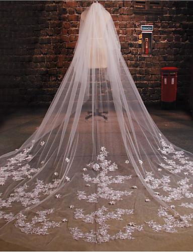Two-tier Lace Applique Edge Wedding Veil Blusher Veils / Elbow Veils / Chapel Veils 53 Appliques / Sparkling Glitter Tulle / Oval