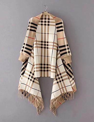 Damen Lang Mantel / Capes-Ausgehen Lässig/Alltäglich Einfach Einfarbig V-Ausschnitt Langarm Wolle Baumwolle Polyester Frühling Herbst