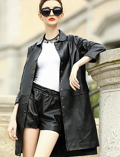 للمرأة عادية جواكيت جلد يوميا عمل بسيط كاجوال أناقة الشارع سادة شتاء خريف قبعة القميص الخراف