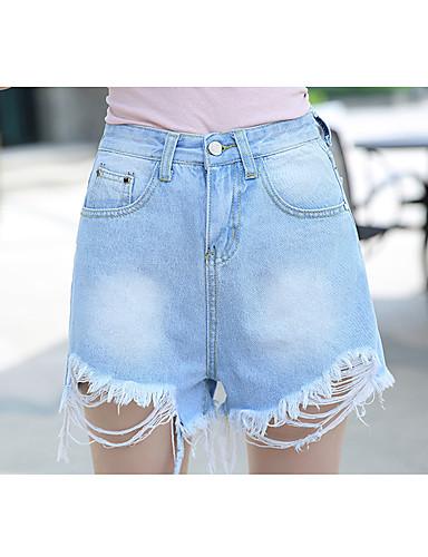 بنطلون جينزات مطاط صغير فضفاض وسط بسيط سادة نساء