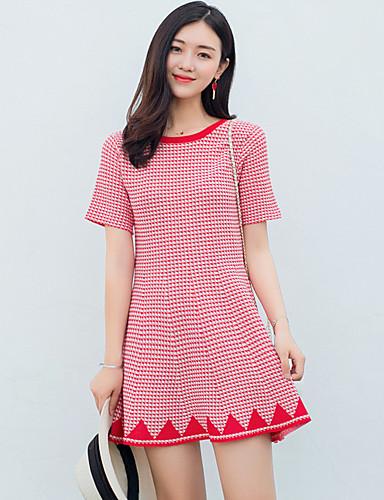 Damen T Shirt Kleid-Lässig/Alltäglich Niedlich Druck Rundhalsausschnitt Mini Kurzarm Baumwolle Kunstseide Elasthan Sommer Hohe Hüfthöhe