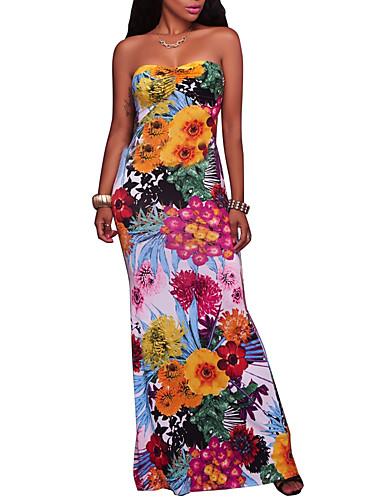 Damen Boho Bodycon Kleid - Rückenfrei, Blumen Maxi Trägerlos Hohe Hüfthöhe