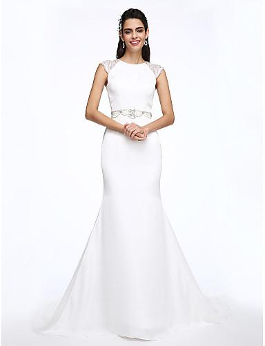 A-Line Jewel Neck Court Train Stretch Chiffon Custom Wedding Dresses with Crystal Beading by LAN TING BRIDE®