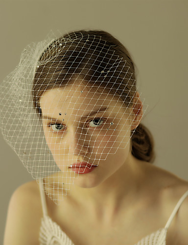 Einschichtig Schnittkante Hochzeitsschleier Gesichts Schleier Mit Strass Rüschen Tüll