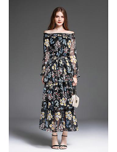 Damen Swing Kleid-Ausgehen Niedlich Druck Bateau Maxi Langarm Polyester Herbst Mittlere Hüfthöhe Mikro-elastisch Mittel