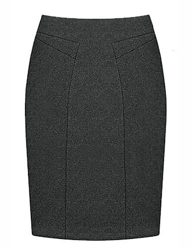 abordables Jupes-Femme Chic de Rue Quotidien Travail Crochet Jupes - Couleur Pleine Noir Bleu Rouge S M L