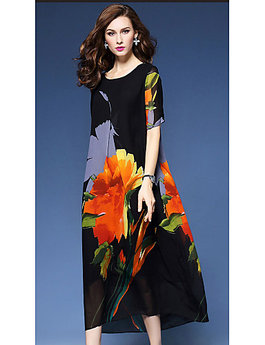 Women's Holiday / Going out Vintage / Street chic Loose A Line / Loose Dress - Floral