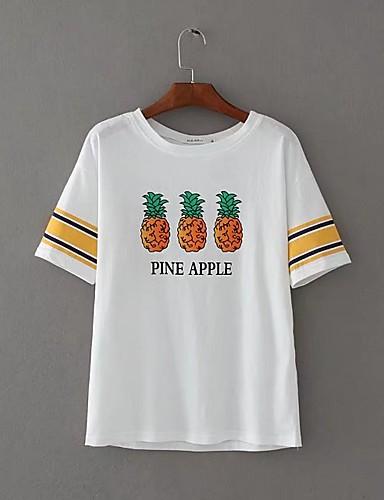 Damen Solide Druck Aktiv Sexy Sport Strand Lässig/Alltäglich T-shirt,Rundhalsausschnitt Sommer Herbst Kurzarm Baumwolle Dünn Mittel