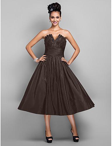 preiswerte Abendkleider-Ballkleid V-Wire Ausschnitt Tee-Länge Taft Kleines Schwarzes Kleid Cocktailparty / Abiball Kleid mit Plissee durch TS Couture®