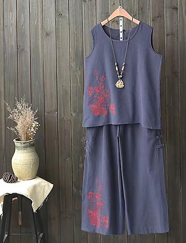 Damen Solide Stickerei Schachbrett Einfach Aktiv Sexy Lässig/Alltäglich T-shirt Hose Anzüge,Rundhalsausschnitt Sommer Herbst Ärmellos