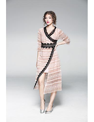 Damen Hülle Spitze Kleid-Lässig/Alltäglich Solide Stickerei V-Ausschnitt Midi Halbe Ärmel Polyester Sommer Mittlere Hüfthöhe