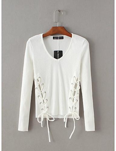 Damen Standard Pullover-Ausgehen Lässig/Alltäglich Einfach Niedlich Solide V-Ausschnitt Langarm Andere Frühling Herbst Dünn Mittel