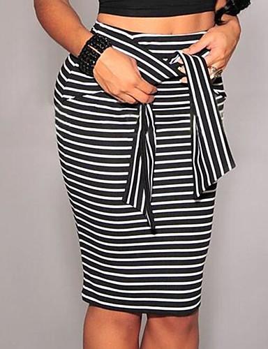 abordables Jupes-Femme Quotidien Travail Moulante Jupes - Rayé Bloc de Couleur Noeud Rubans fines rayures Blanche Noir M L XL / Mince