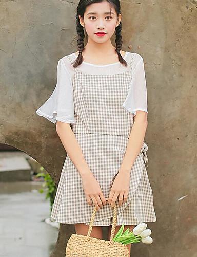 Damen Einfarbig Einfach Ausgehen T-Shirt-Ärmel Rock Anzüge,Rundhalsausschnitt Sommer ½ Ärmel