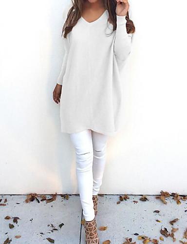 abordables Hauts pour Femmes-Femme Quotidien Couleur Pleine Manches Longues Ample Longue Pullover, Col en V Automne / Hiver Jaune / Kaki / Bleu royal M / L / XL