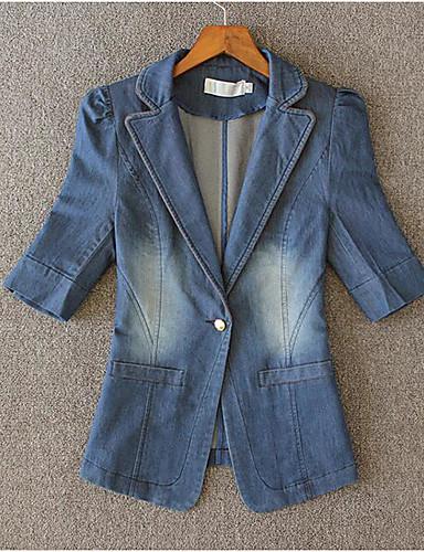 Damen Solide Einfach Lässig/Alltäglich Jeansjacke,Gekerbtes Revers Frühling Kurzarm Standard Baumwolle