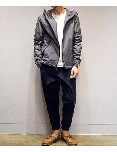 Herren Solide Einfach Lässig/Alltäglich Jacke,Mit Kapuze Herbst Lange Ärmel Standard Polyester