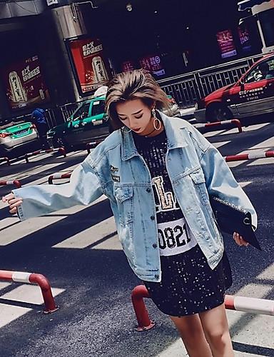 Damen Solide Druck Einfach Freizeit Alltag Jeansjacke,Hemdkragen Herbst Langärmelige Standard Polyester