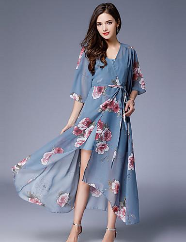 Damen Hülle Kleid - Druck V-Ausschnitt Hohe Hüfthöhe