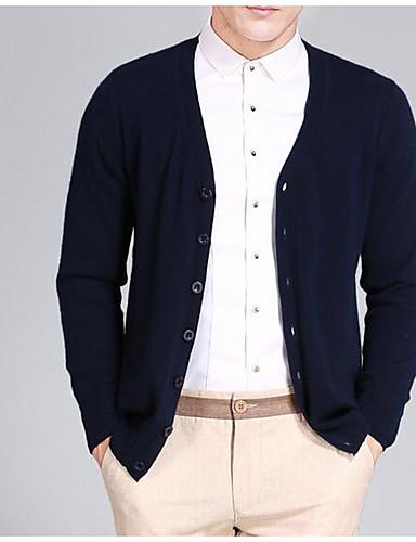 Herren Standard Strickjacke-Ausgehen Lässig/Alltäglich Retro Einfach Niedlich Solide V-Ausschnitt Langarm Wolle Baumwolle Polyester